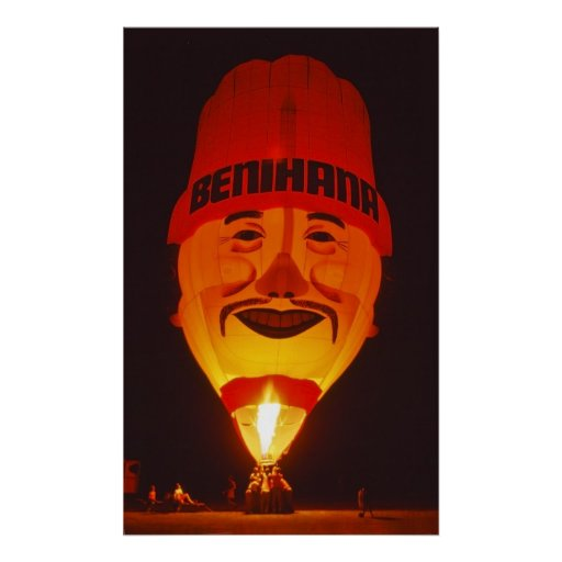 Globo del aire caliente en la noche - póster