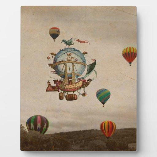 Globo del aire caliente, viaje de Minerve 1803 del Placa De Madera