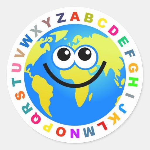 Globo del alfabeto pegatina redonda
