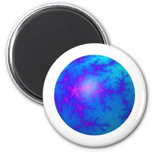 Globo del azul del fractal imán redondo 5 cm
