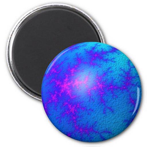 Globo del azul del fractal imanes de nevera