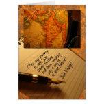 Globo del buen viaje y pluma de la caligrafía con  felicitación