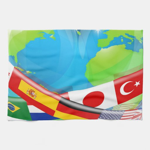 Globo del corazón con las banderas toalla de mano