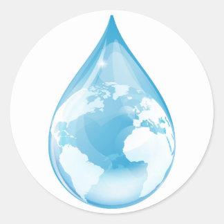 Globo del descenso del agua pegatina redonda