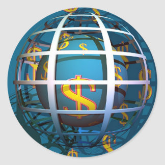 Globo del dólar pegatina redonda