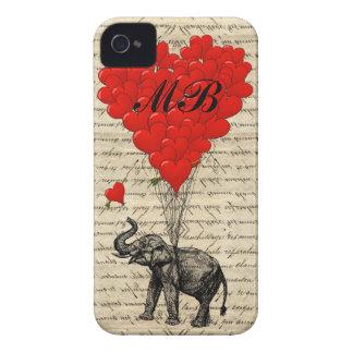 Globo del elefante y del corazón con el monograma Case-Mate iPhone 4 cárcasa