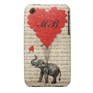 Globo del elefante y del corazón con el monograma Case-Mate iPhone 3 protectores