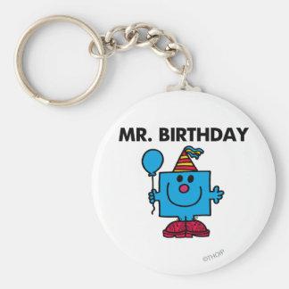 Globo del feliz cumpleaños de Sr. Birthday el | Llavero Redondo Tipo Pin