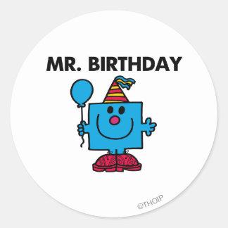 Globo del feliz cumpleaños de Sr. Birthday el | Pegatina Redonda