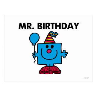 Globo del feliz cumpleaños de Sr. Birthday el | Postal