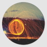 Globo del fuego pegatinas redondas