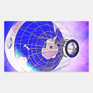 Globo del globo del mundo y cielo rosado de la rectangular pegatinas