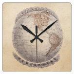 Globo del hemisferio occidental del mapa del mundo relojes