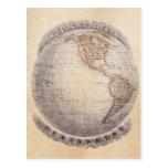 Globo del hemisferio occidental del mapa del mundo postal