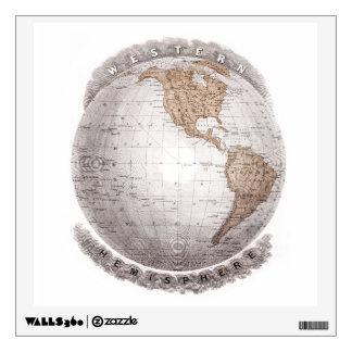 Globo del hemisferio occidental del mapa del mundo vinilo decorativo