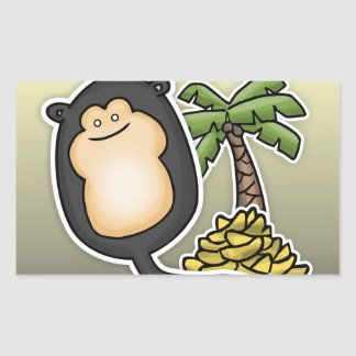 Globo del mono pegatina rectangular