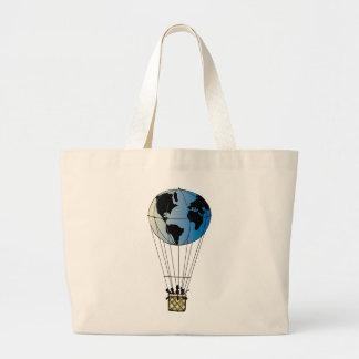 Globo del mundo bolsa tela grande