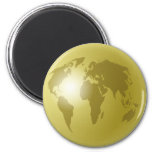 Globo del mundo del oro iman de frigorífico