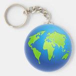 Globo del mundo llavero redondo tipo pin