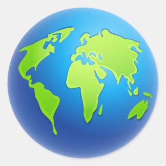 Globo del mundo pegatina redonda