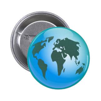 Globo del mundo pin redondo de 2 pulgadas