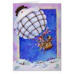 Globo del muñeco de nieve tarjeta