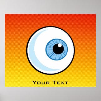 Globo del ojo amarillo-naranja posters