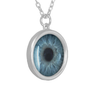 Globo del ojo azul collar plateado