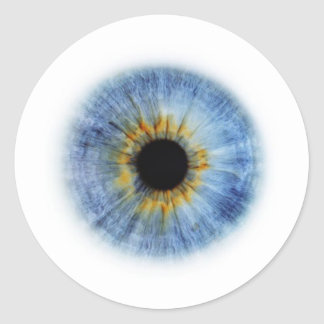 Globo del ojo azul etiqueta redonda