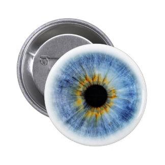 Globo del ojo azul humano pin redondo de 2 pulgadas