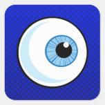 Globo del ojo azul pegatina cuadrada