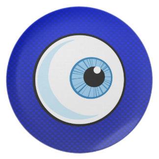 Globo del ojo azul platos de comidas