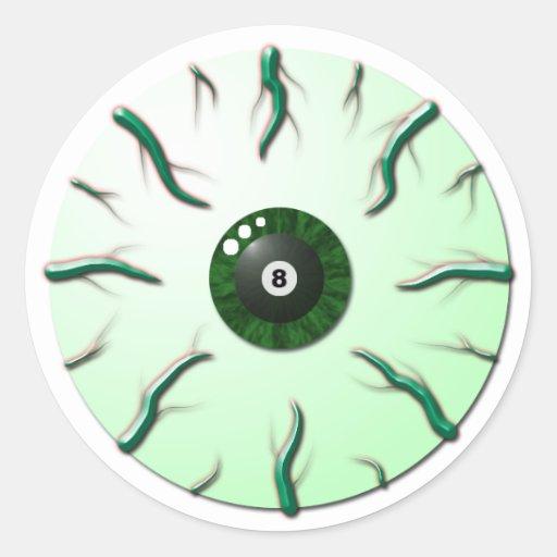 Globo del ojo con el iris de 8 bolas y las venas pegatina redonda