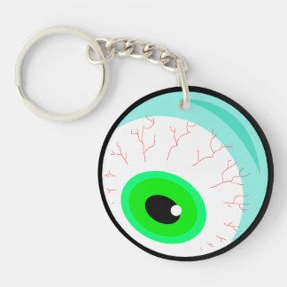 Globo del ojo Googly verde fantasmagórico Llavero Redondo Acrílico A Una Cara