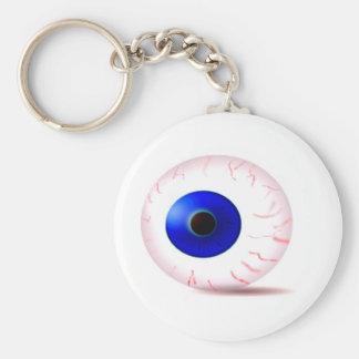 Globo del ojo inyectado en sangre azul llavero redondo tipo pin