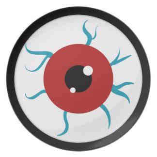 Globo del ojo inyectado en sangre de Halloween Plato