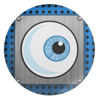 Globo del ojo; Metal-mirada Platos De Comidas
