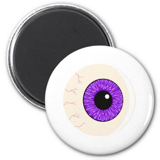 globo del ojo púrpura imán de frigorífico