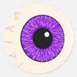 globo del ojo púrpura pegatinas redondas