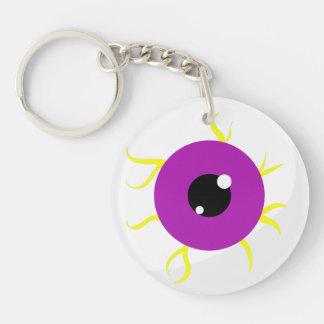 Globo del ojo púrpura retro llavero redondo acrílico a doble cara