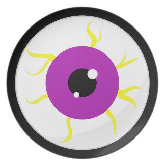 Globo del ojo púrpura retro plato de comida