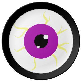 Globo del ojo púrpura retro platos de cerámica