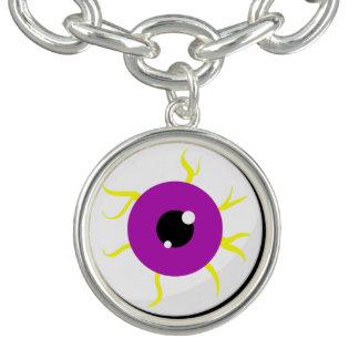 Globo del ojo púrpura retro pulseras con dijer
