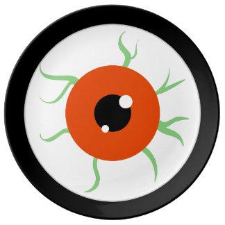 Globo del ojo retro del fiesta de Halloween Platos De Cerámica