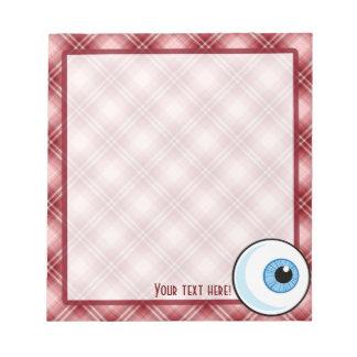 Globo del ojo rojo de la tela escocesa libretas para notas