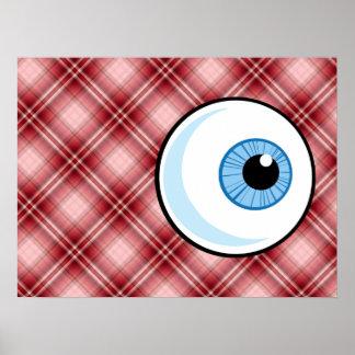 Globo del ojo rojo de la tela escocesa poster