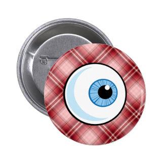 Globo del ojo rojo de la tela escocesa pin redondo de 2 pulgadas