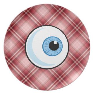 Globo del ojo rojo de la tela escocesa plato para fiesta