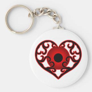 Globo del ojo rojo en corazón llavero redondo tipo pin