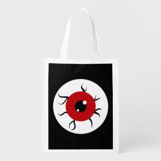 Globo del ojo rojo y negro retro bolsa para la compra